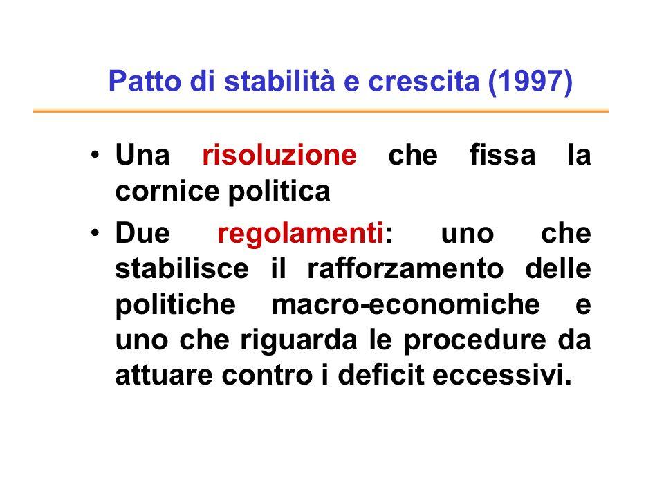 Patto di stabilità e crescita (1997) Una risoluzione che fissa la cornice politica Due regolamenti: uno che stabilisce il rafforzamento delle politiche macro-economiche e uno che riguarda le procedure da attuare contro i deficit eccessivi.