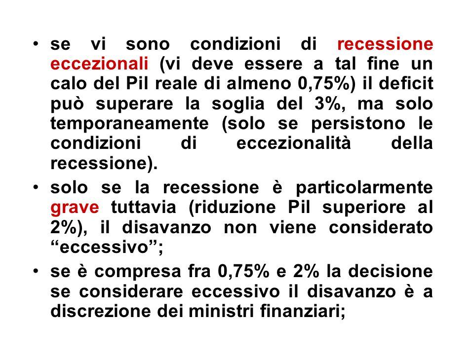 se vi sono condizioni di recessione eccezionali (vi deve essere a tal fine un calo del Pil reale di almeno 0,75%) il deficit può superare la soglia del 3%, ma solo temporaneamente (solo se persistono le condizioni di eccezionalità della recessione).