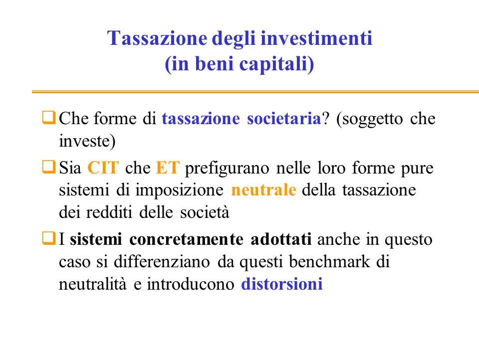 Tassazione degli investimenti (in beni capitali) Profitto: = R-C-AM-IP R=ricavi =F(K,L) C= costi di esercizio (per beni intermedi e del lavoro)= 0, per ipotesi AM= ammortamenti = K ( vero ammortamento economico) IP = interessi passivi= rK = F(K,L)- K-rK Ipotesi finanziamento con debito (costo del capitale deducibile)