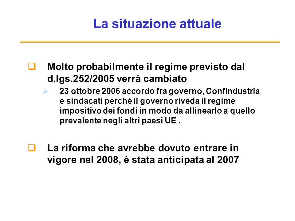 La situazione attuale Molto probabilmente il regime previsto dal d.lgs.252/2005 verrà cambiato 23 ottobre 2006 accordo fra governo, Confindustria e si