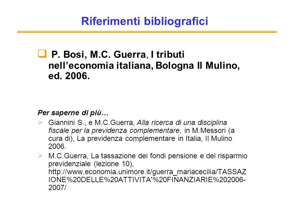 Riferimenti bibliografici P. Bosi, M.C. Guerra, I tributi nelleconomia italiana, Bologna Il Mulino, ed. 2006. Per saperne di più… Giannini S., e M.C.G