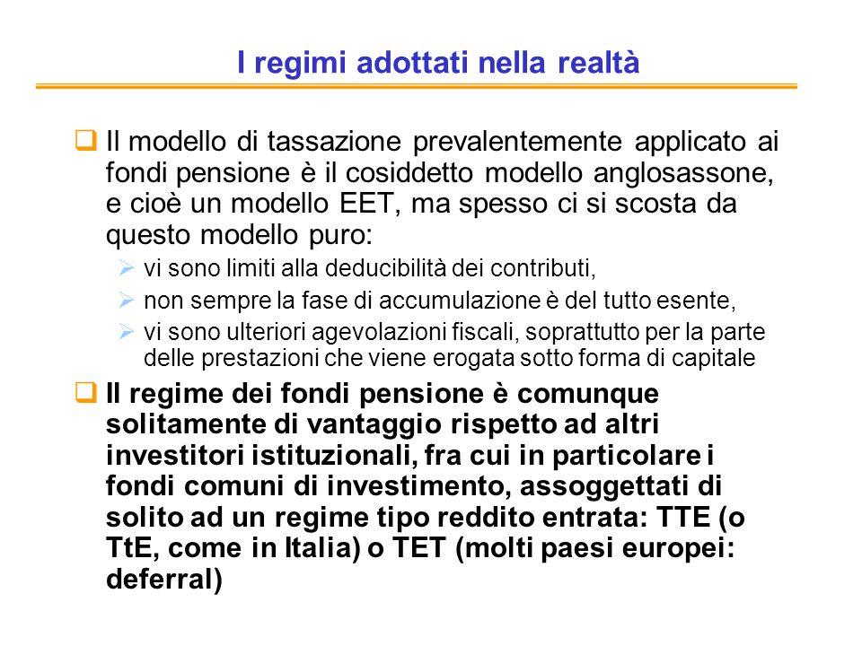 I regimi adottati nella realtà Il modello di tassazione prevalentemente applicato ai fondi pensione è il cosiddetto modello anglosassone, e cioè un mo