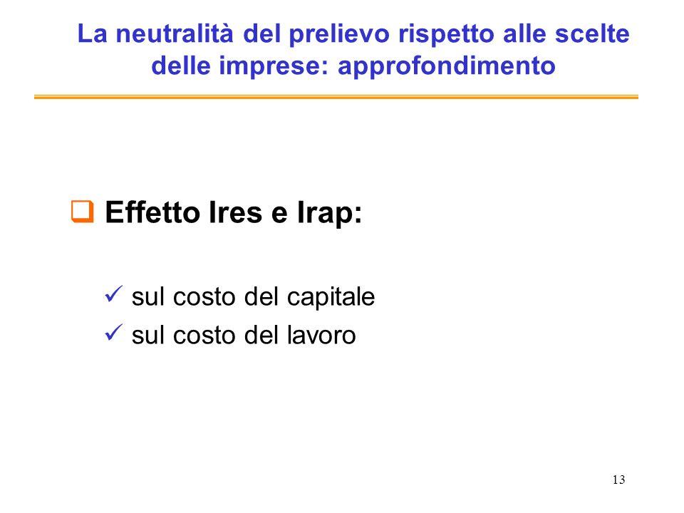 13 La neutralità del prelievo rispetto alle scelte delle imprese: approfondimento Effetto Ires e Irap: sul costo del capitale sul costo del lavoro