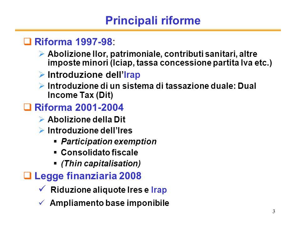 3 Principali riforme Riforma 1997-98: Abolizione Ilor, patrimoniale, contributi sanitari, altre imposte minori (Iciap, tassa concessione partita Iva e