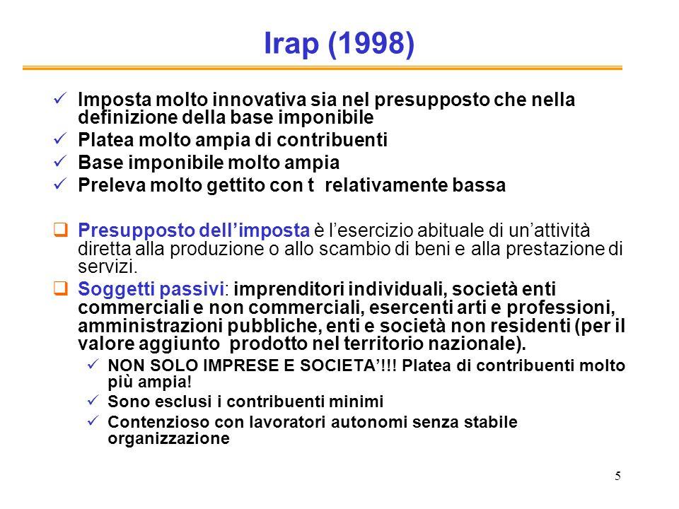 5 Irap (1998) Imposta molto innovativa sia nel presupposto che nella definizione della base imponibile Platea molto ampia di contribuenti Base imponib