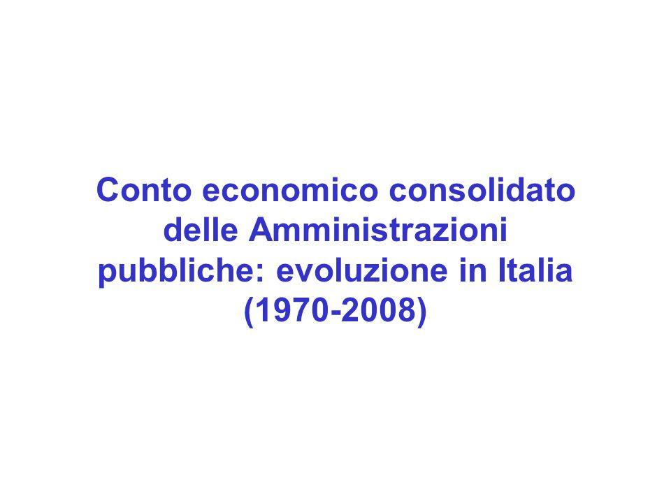 Conto economico consolidato delle Amministrazioni pubbliche: evoluzione in Italia (1970-2008)