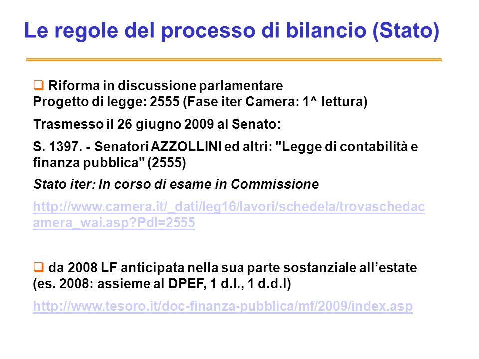 Le regole del processo di bilancio (Stato) Riforma in discussione parlamentare Progetto di legge: 2555 (Fase iter Camera: 1^ lettura) Trasmesso il 26 giugno 2009 al Senato: S.