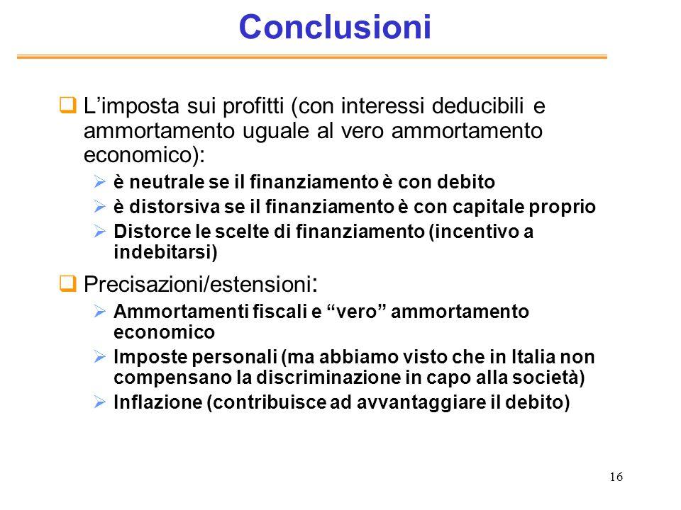 16 Conclusioni Limposta sui profitti (con interessi deducibili e ammortamento uguale al vero ammortamento economico): è neutrale se il finanziamento è