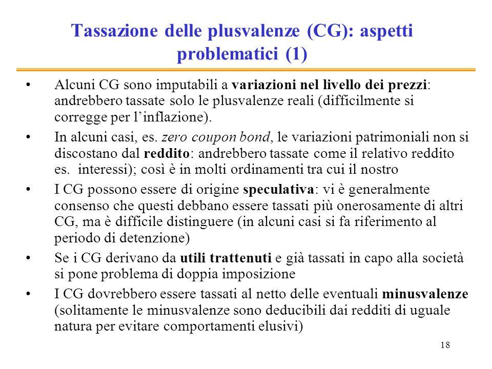 18 Tassazione delle plusvalenze (CG): aspetti problematici (1) Alcuni CG sono imputabili a variazioni nel livello dei prezzi: andrebbero tassate solo