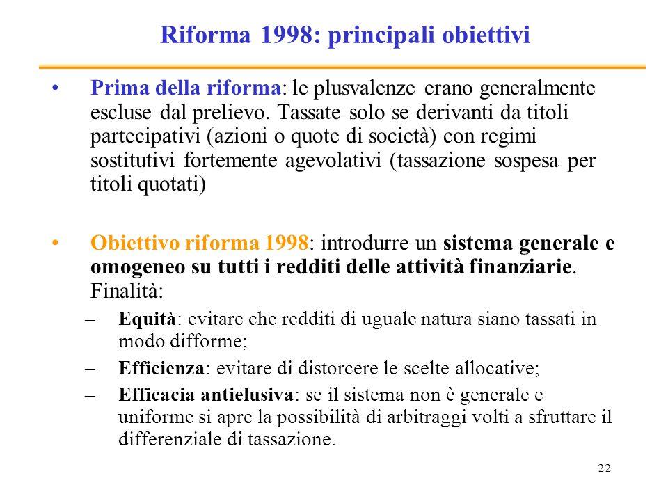 22 Riforma 1998: principali obiettivi Prima della riforma: le plusvalenze erano generalmente escluse dal prelievo. Tassate solo se derivanti da titoli