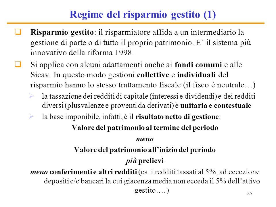 25 Regime del risparmio gestito (1) Risparmio gestito: il risparmiatore affida a un intermediario la gestione di parte o di tutto il proprio patrimoni