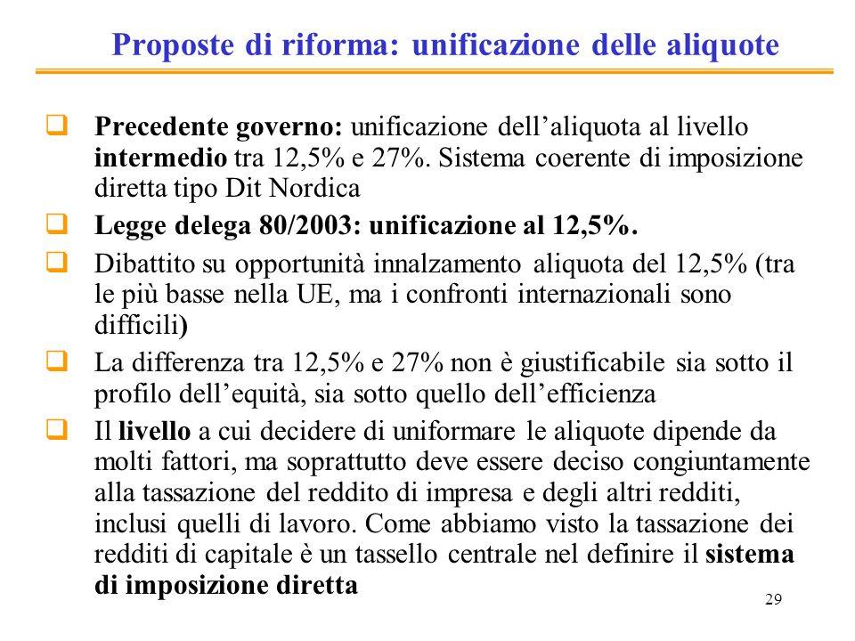 29 Proposte di riforma: unificazione delle aliquote Precedente governo: unificazione dellaliquota al livello intermedio tra 12,5% e 27%. Sistema coere