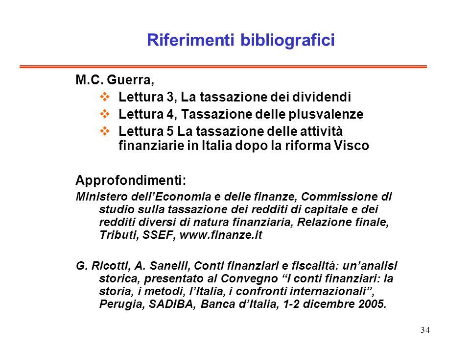 34 Riferimenti bibliografici M.C. Guerra, Lettura 3, La tassazione dei dividendi Lettura 4, Tassazione delle plusvalenze Lettura 5 La tassazione delle