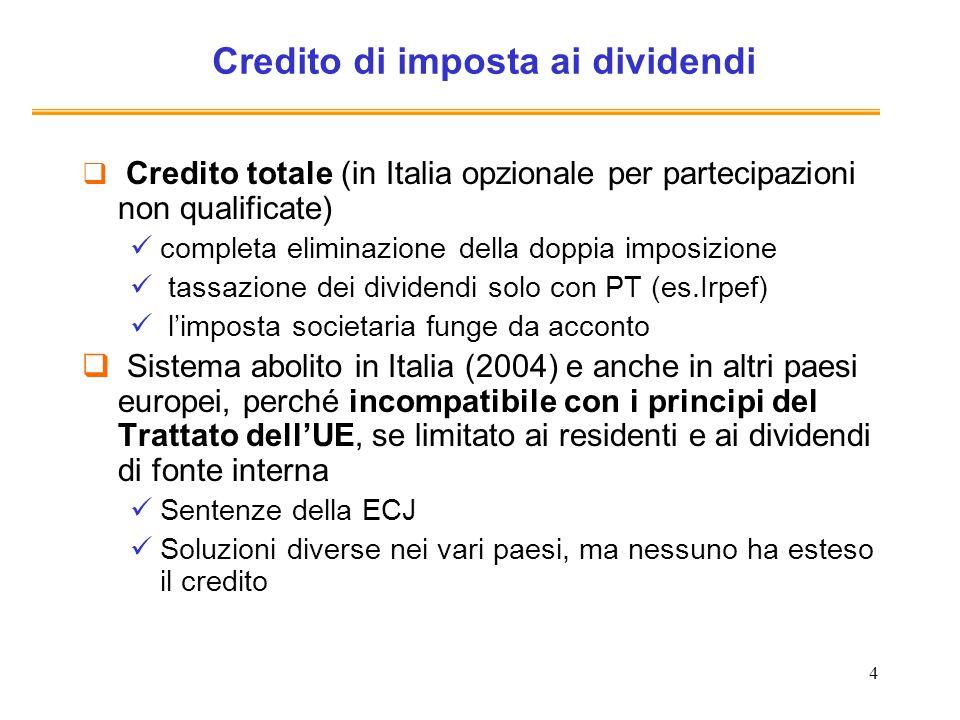 4 Credito di imposta ai dividendi Credito totale (in Italia opzionale per partecipazioni non qualificate) completa eliminazione della doppia imposizio