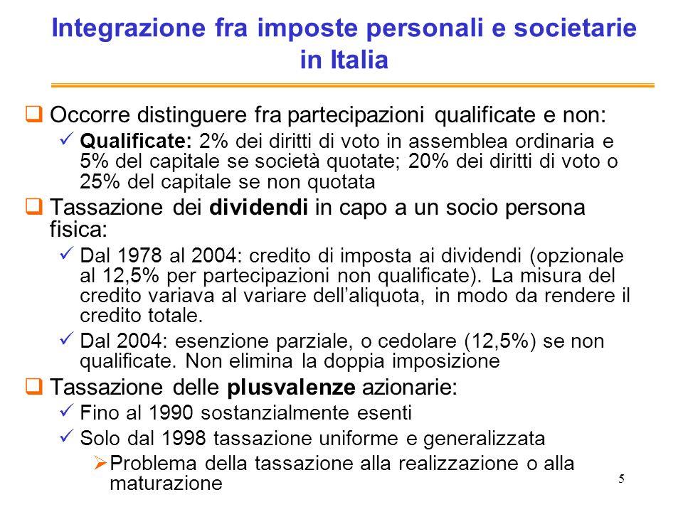 5 Integrazione fra imposte personali e societarie in Italia Occorre distinguere fra partecipazioni qualificate e non: Qualificate: 2% dei diritti di v