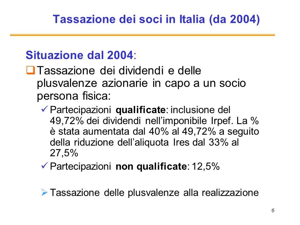 6 Tassazione dei soci in Italia (da 2004) Situazione dal 2004: Tassazione dei dividendi e delle plusvalenze azionarie in capo a un socio persona fisic