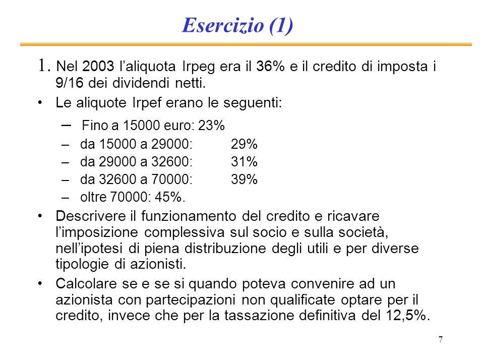 7 Esercizio (1) 1. Nel 2003 laliquota Irpeg era il 36% e il credito di imposta i 9/16 dei dividendi netti. Le aliquote Irpef erano le seguenti: – Fino