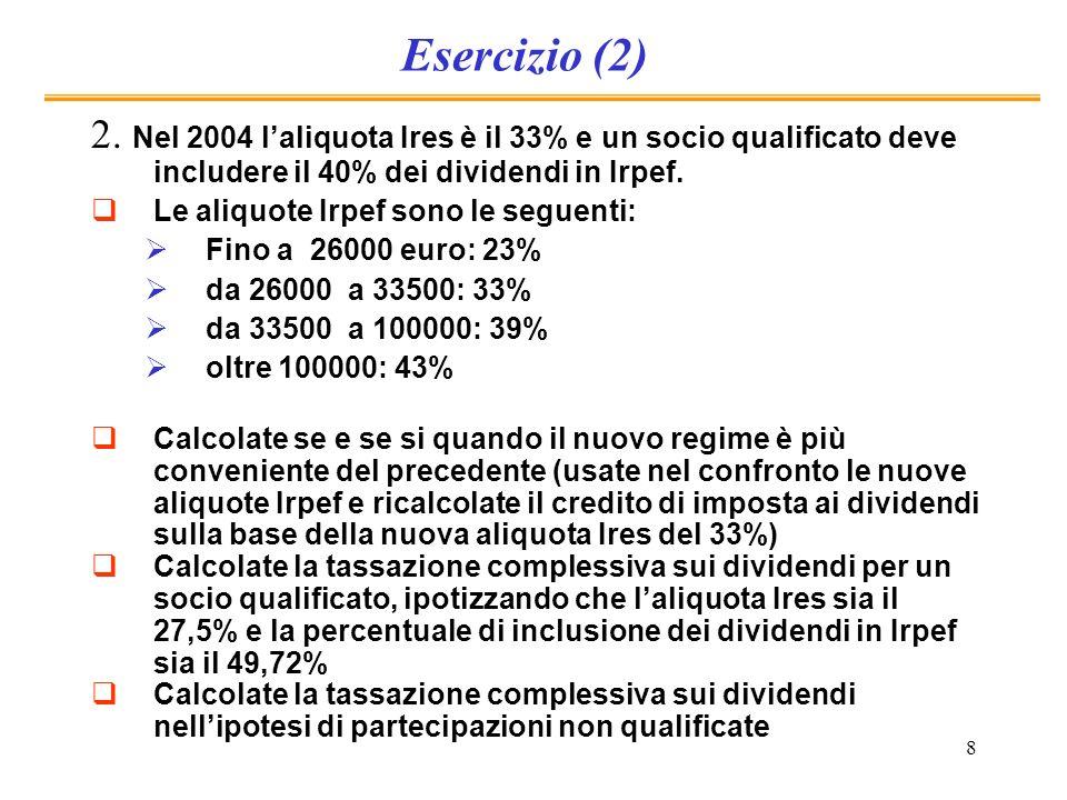 8 Esercizio (2) 2. Nel 2004 laliquota Ires è il 33% e un socio qualificato deve includere il 40% dei dividendi in Irpef. Le aliquote Irpef sono le seg