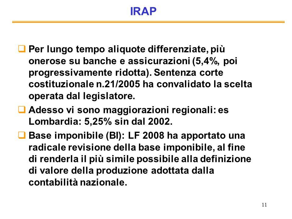 11 IRAP Per lungo tempo aliquote differenziate, più onerose su banche e assicurazioni (5,4%, poi progressivamente ridotta). Sentenza corte costituzion