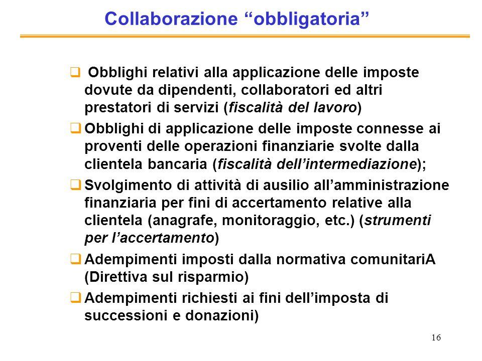 16 Collaborazione obbligatoria Obblighi relativi alla applicazione delle imposte dovute da dipendenti, collaboratori ed altri prestatori di servizi (f