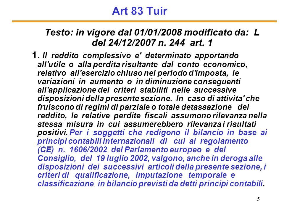 5 Art 83 Tuir Testo: in vigore dal 01/01/2008 modificato da: L del 24/12/2007 n. 244 art. 1 1. Il reddito complessivo e' determinato apportando all'ut