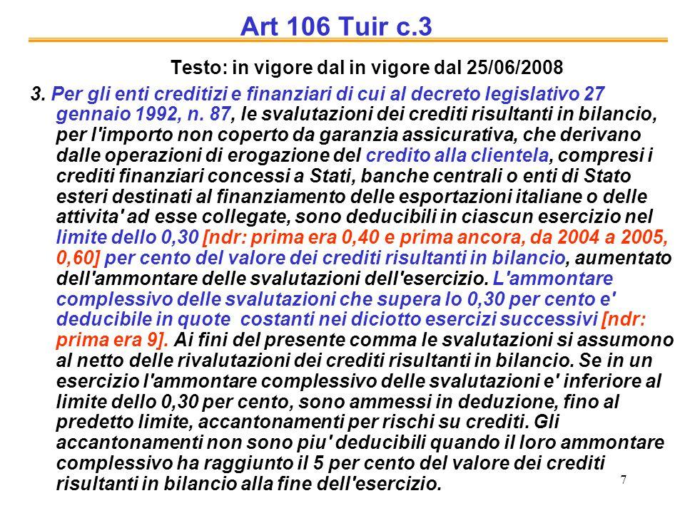 7 Art 106 Tuir c.3 Testo: in vigore dal in vigore dal 25/06/2008 3. Per gli enti creditizi e finanziari di cui al decreto legislativo 27 gennaio 1992,