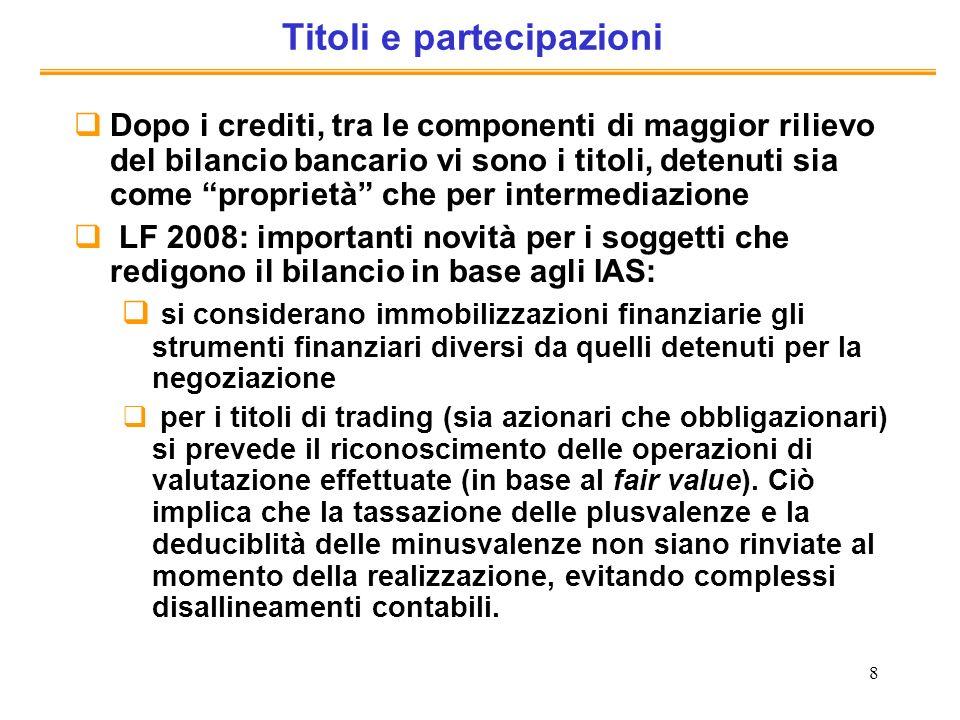 8 Titoli e partecipazioni Dopo i crediti, tra le componenti di maggior rilievo del bilancio bancario vi sono i titoli, detenuti sia come proprietà che