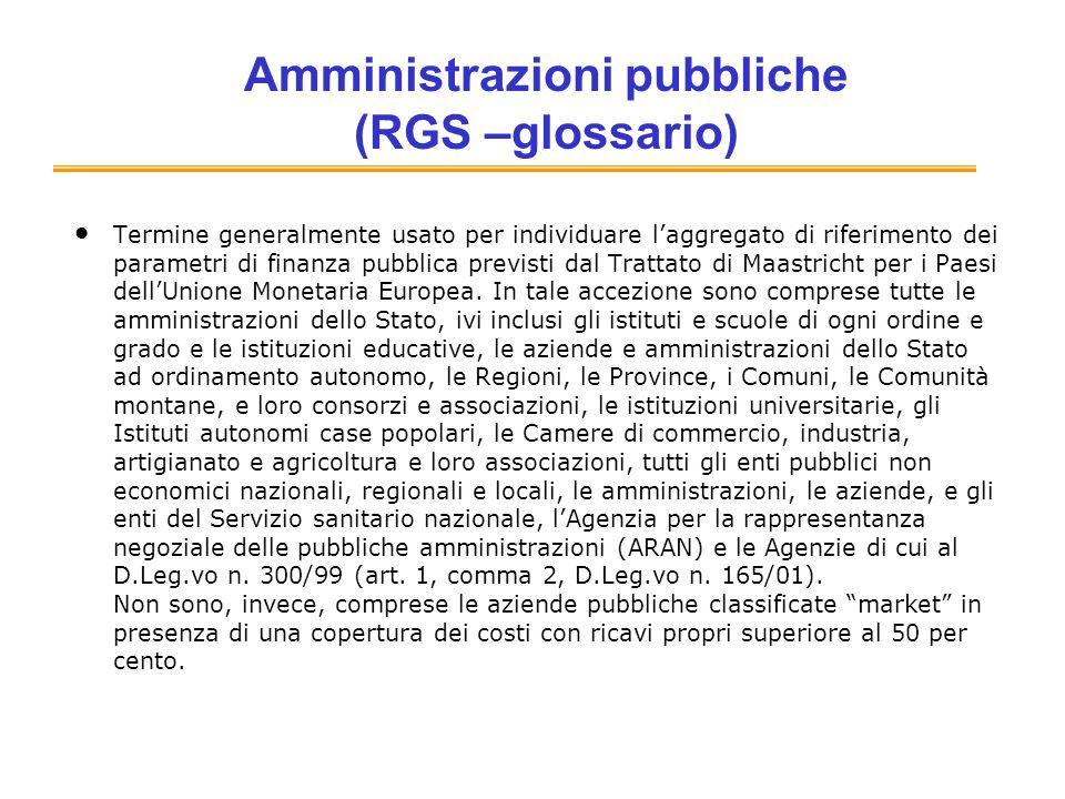 Amministrazioni pubbliche (RGS –glossario) Termine generalmente usato per individuare laggregato di riferimento dei parametri di finanza pubblica pre