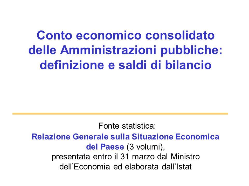 Conto economico consolidato delle Amministrazioni pubbliche: definizione e saldi di bilancio Fonte statistica: Relazione Generale sulla Situazione Eco
