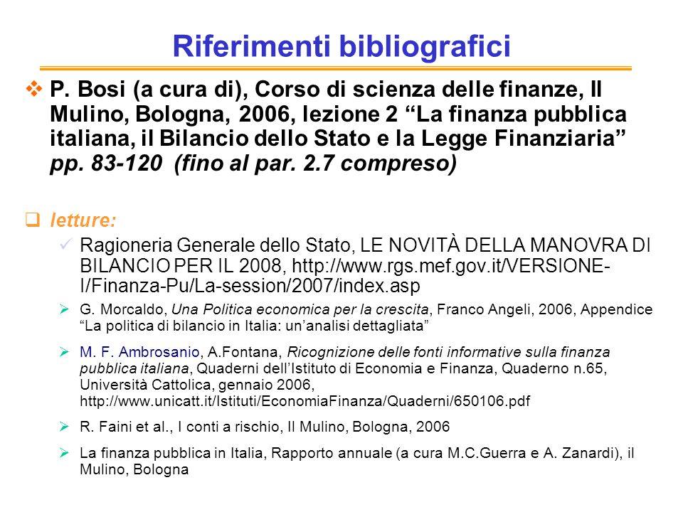 Riferimenti bibliografici P. Bosi (a cura di), Corso di scienza delle finanze, Il Mulino, Bologna, 2006, lezione 2 La finanza pubblica italiana, il Bi