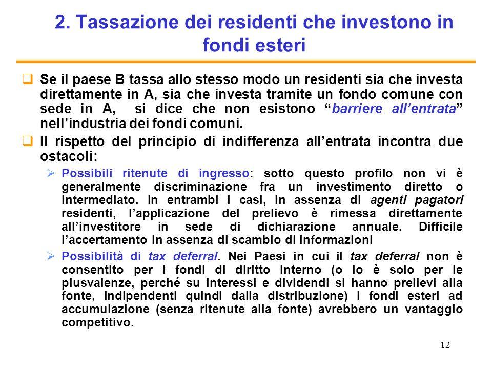 12 2. Tassazione dei residenti che investono in fondi esteri Se il paese B tassa allo stesso modo un residenti sia che investa direttamente in A, sia
