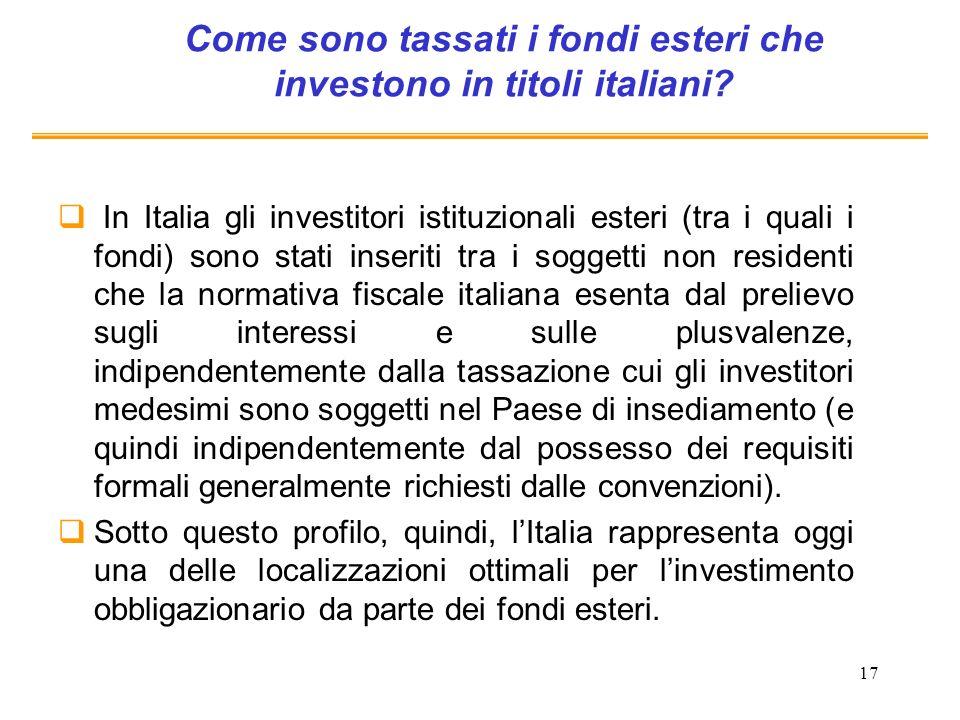 17 Come sono tassati i fondi esteri che investono in titoli italiani? In Italia gli investitori istituzionali esteri (tra i quali i fondi) sono stati