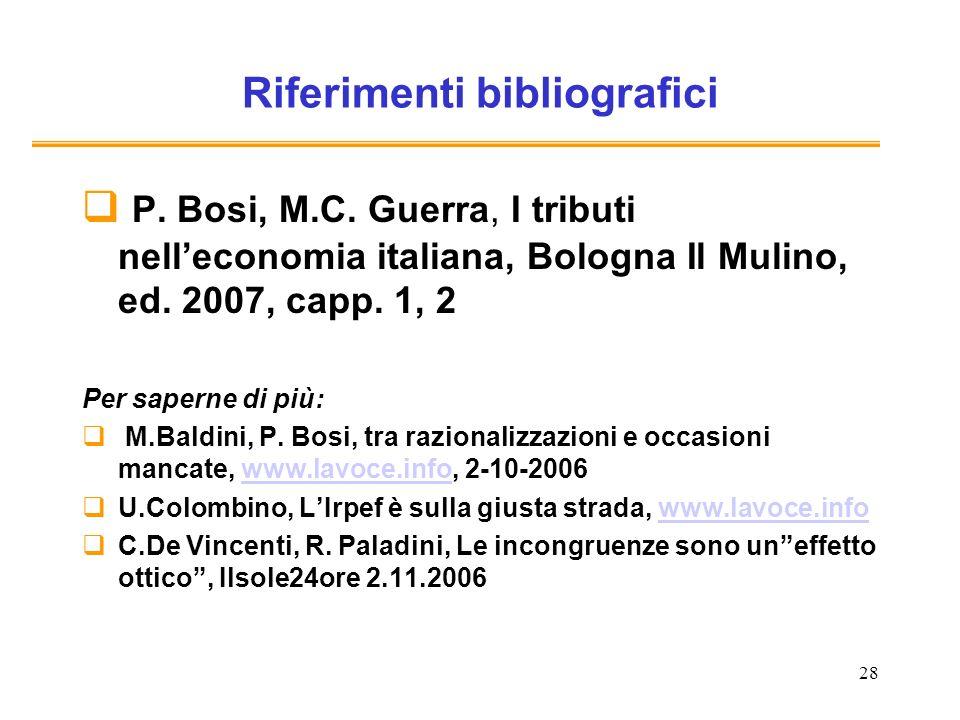 28 Riferimenti bibliografici P. Bosi, M.C. Guerra, I tributi nelleconomia italiana, Bologna Il Mulino, ed. 2007, capp. 1, 2 Per saperne di più: M.Bald