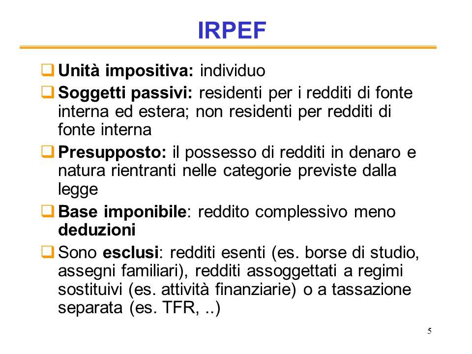 5 IRPEF Unità impositiva: individuo Soggetti passivi: residenti per i redditi di fonte interna ed estera; non residenti per redditi di fonte interna P
