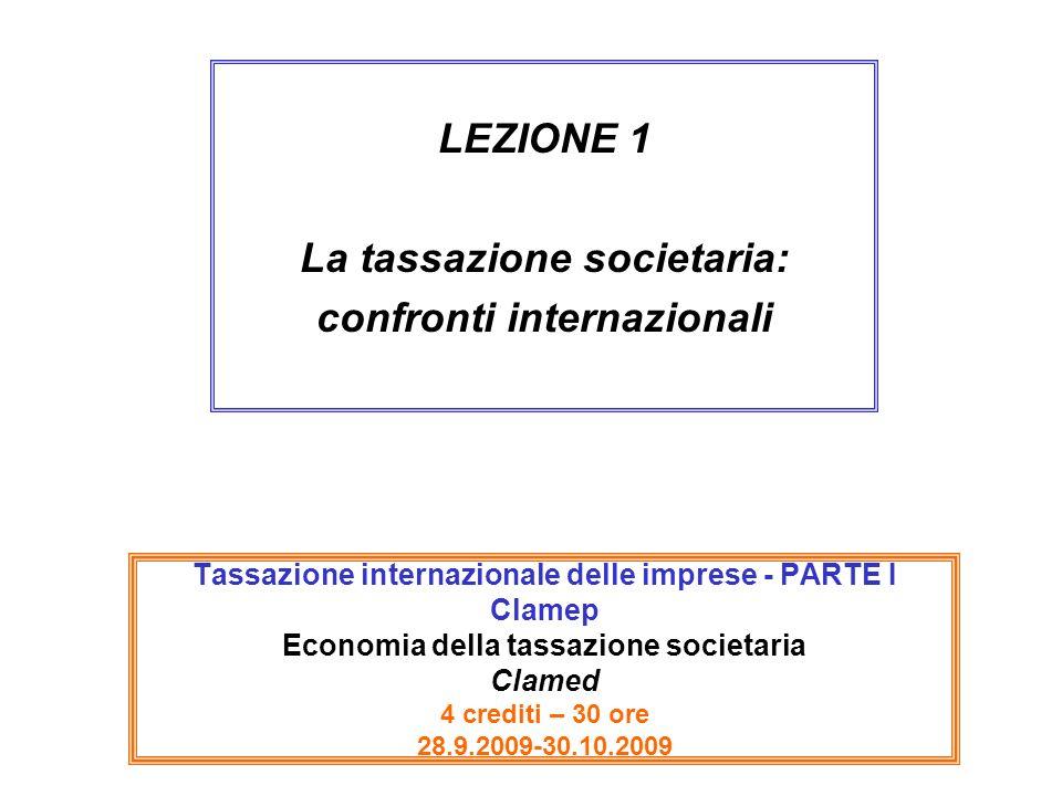 Tassazione internazionale delle imprese - PARTE I Clamep Economia della tassazione societaria Clamed 4 crediti – 30 ore 28.9.2009-30.10.2009 LEZIONE 1