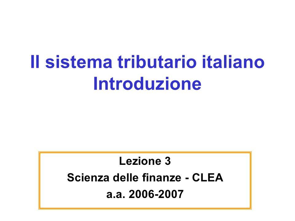 Il sistema tributario italiano Introduzione Lezione 3 Scienza delle finanze - CLEA a.a. 2006-2007