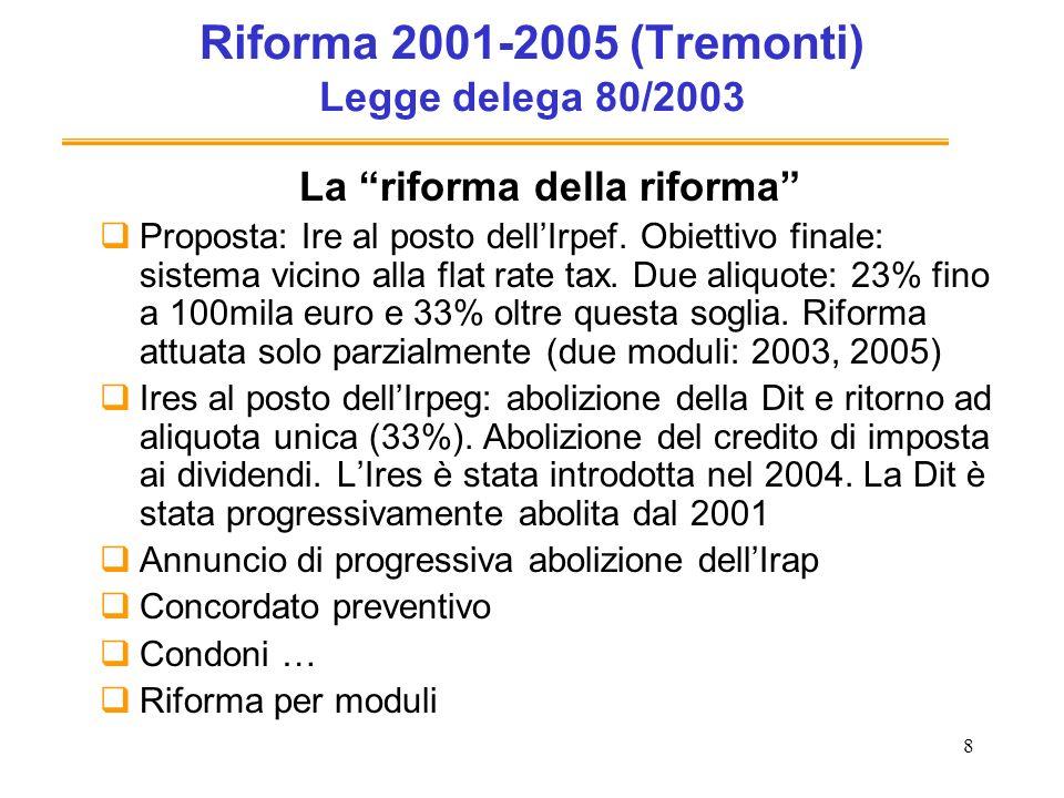 8 Riforma 2001-2005 (Tremonti) Legge delega 80/2003 La riforma della riforma Proposta: Ire al posto dellIrpef. Obiettivo finale: sistema vicino alla f