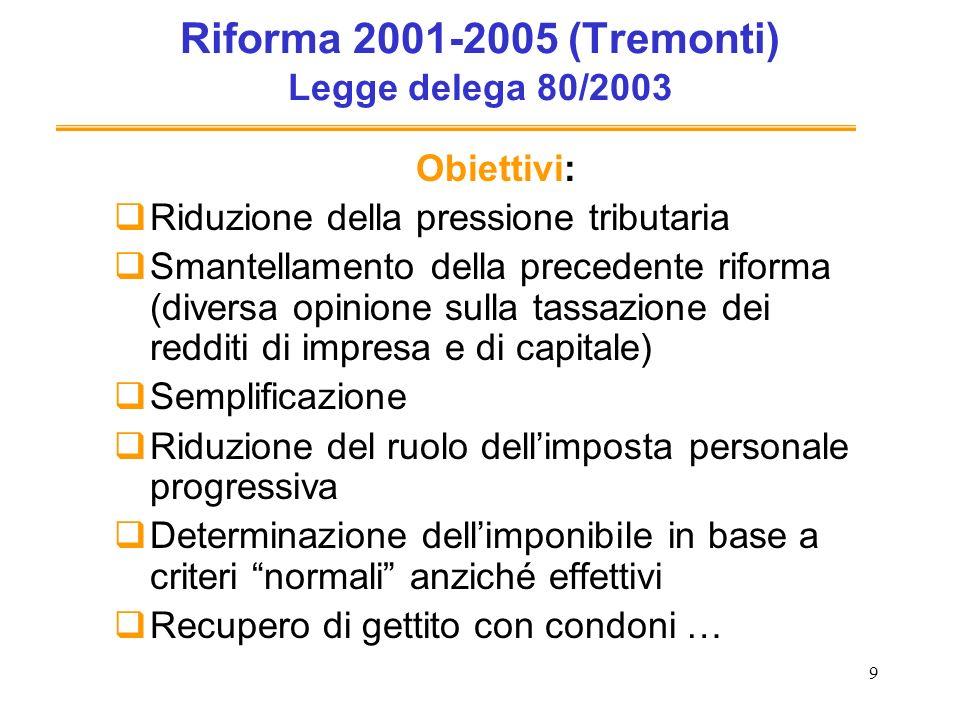 9 Riforma 2001-2005 (Tremonti) Legge delega 80/2003 Obiettivi: Riduzione della pressione tributaria Smantellamento della precedente riforma (diversa o
