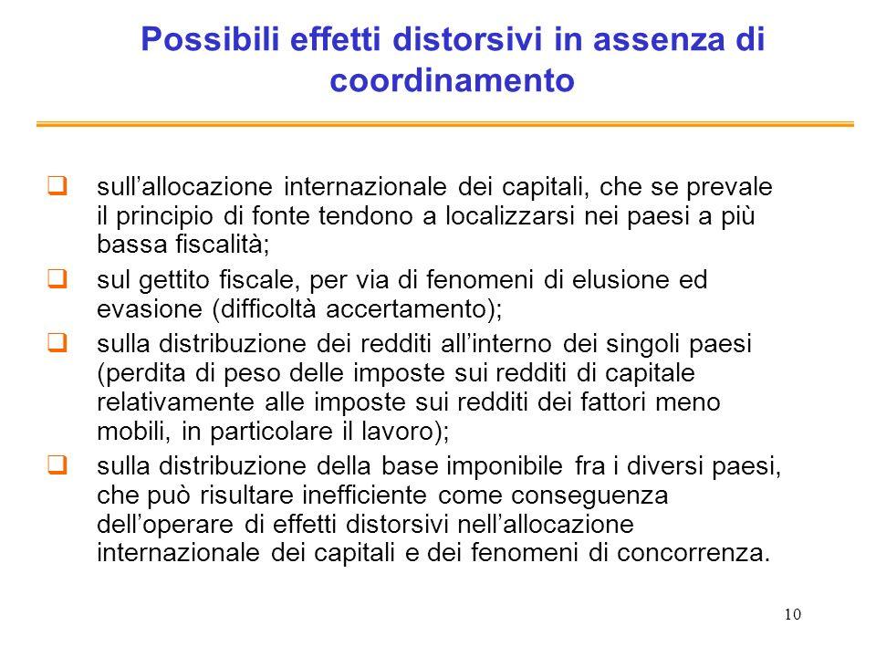 10 Possibili effetti distorsivi in assenza di coordinamento sullallocazione internazionale dei capitali, che se prevale il principio di fonte tendono