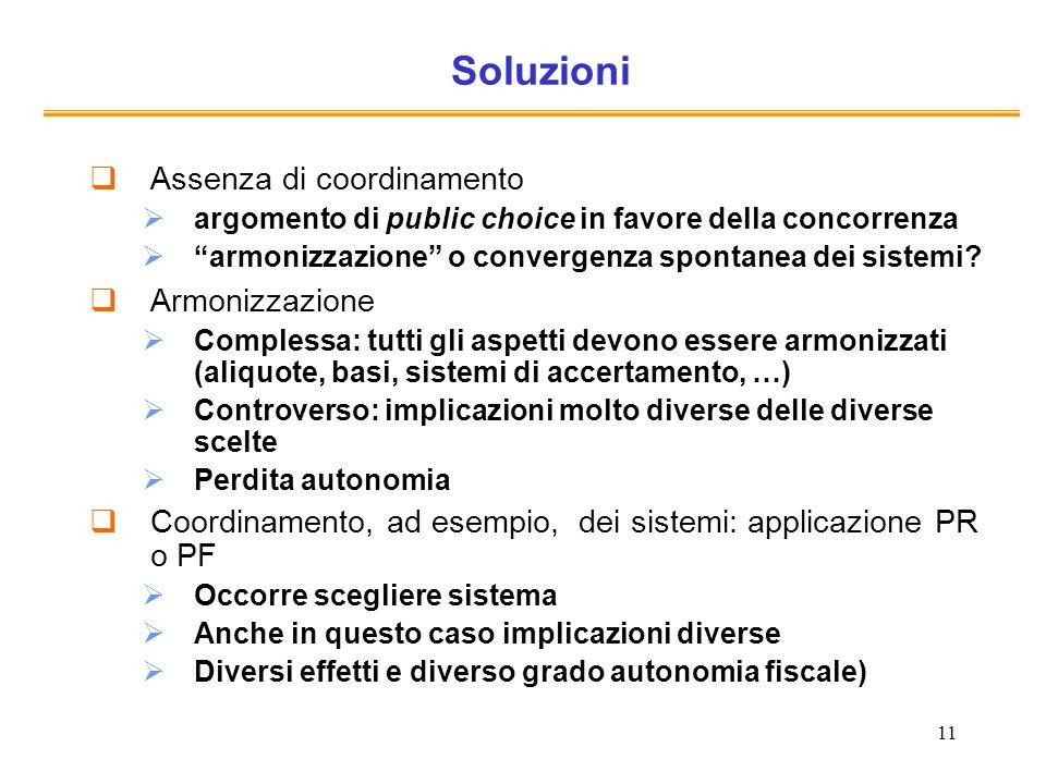 11 Soluzioni Assenza di coordinamento argomento di public choice in favore della concorrenza armonizzazione o convergenza spontanea dei sistemi? Armon