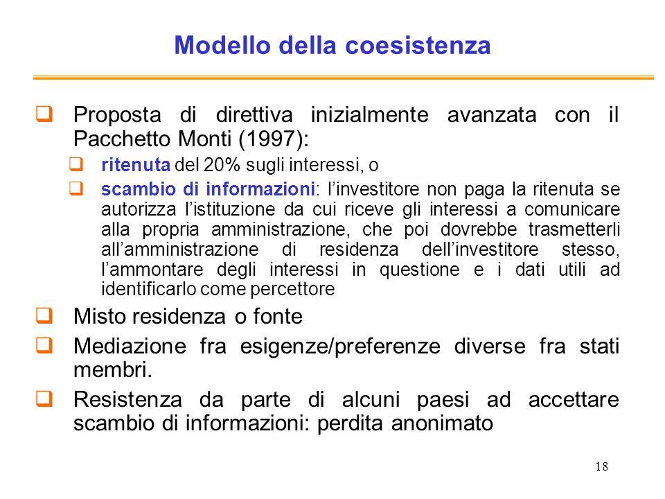 18 Modello della coesistenza Proposta di direttiva inizialmente avanzata con il Pacchetto Monti (1997): ritenuta del 20% sugli interessi, o scambio di