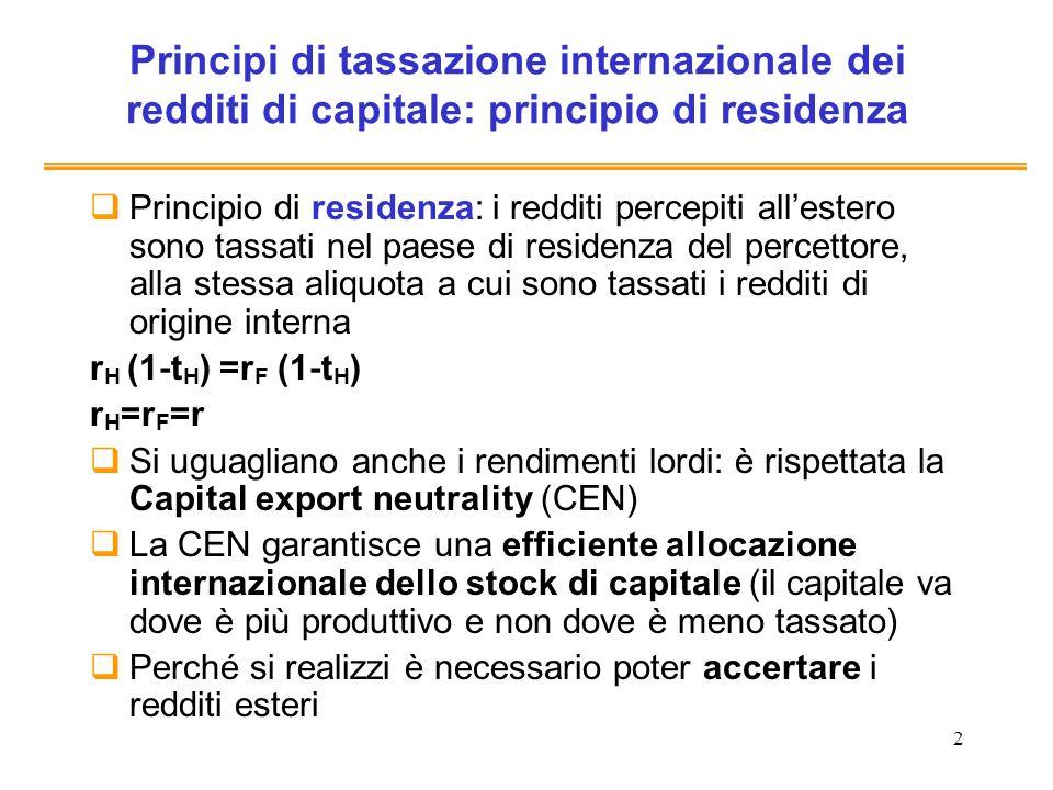 2 Principi di tassazione internazionale dei redditi di capitale: principio di residenza Principio di residenza: i redditi percepiti allestero sono tas