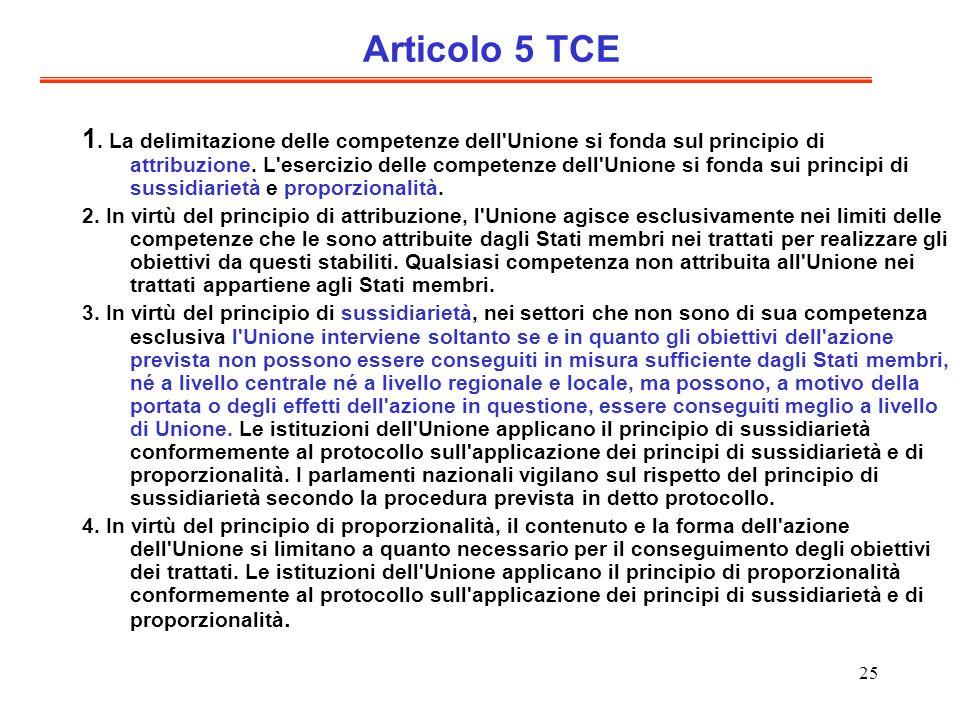 25 Articolo 5 TCE 1. La delimitazione delle competenze dell'Unione si fonda sul principio di attribuzione. L'esercizio delle competenze dell'Unione si