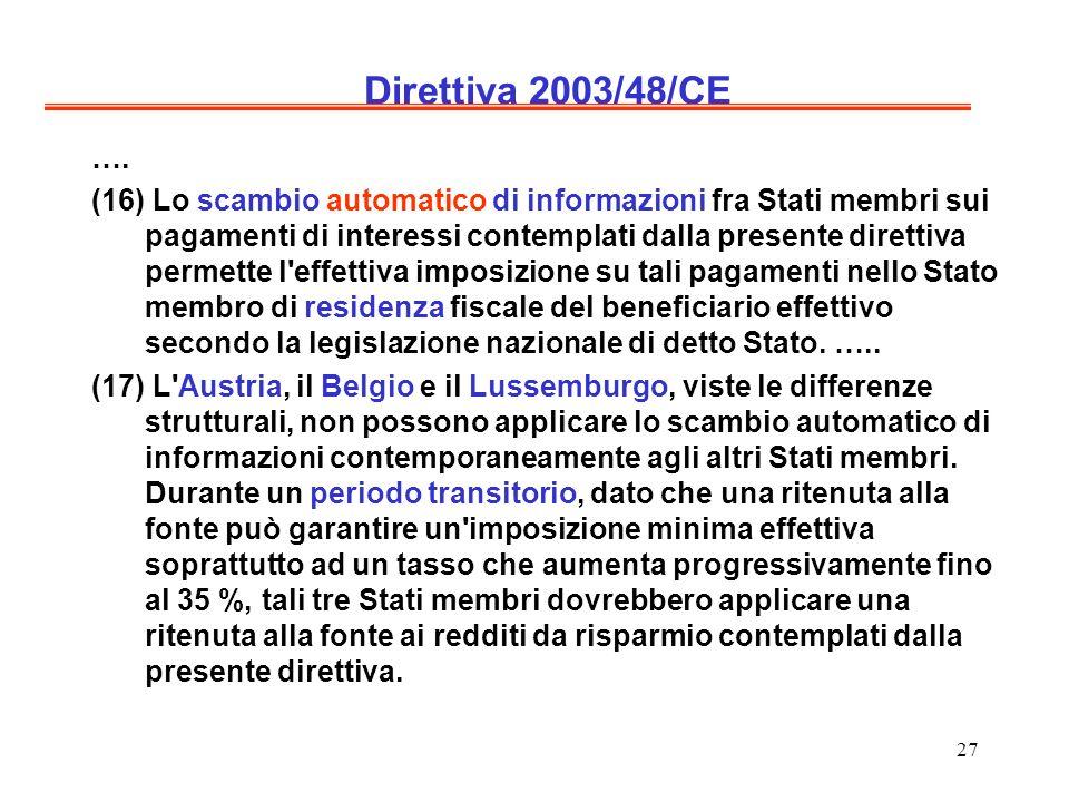 27 Direttiva 2003/48/CE …. (16) Lo scambio automatico di informazioni fra Stati membri sui pagamenti di interessi contemplati dalla presente direttiva
