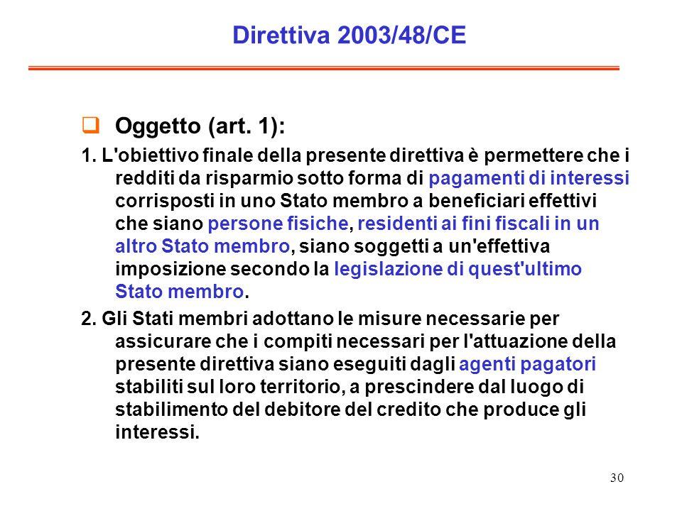 30 Direttiva 2003/48/CE Oggetto (art. 1): 1. L'obiettivo finale della presente direttiva è permettere che i redditi da risparmio sotto forma di pagame