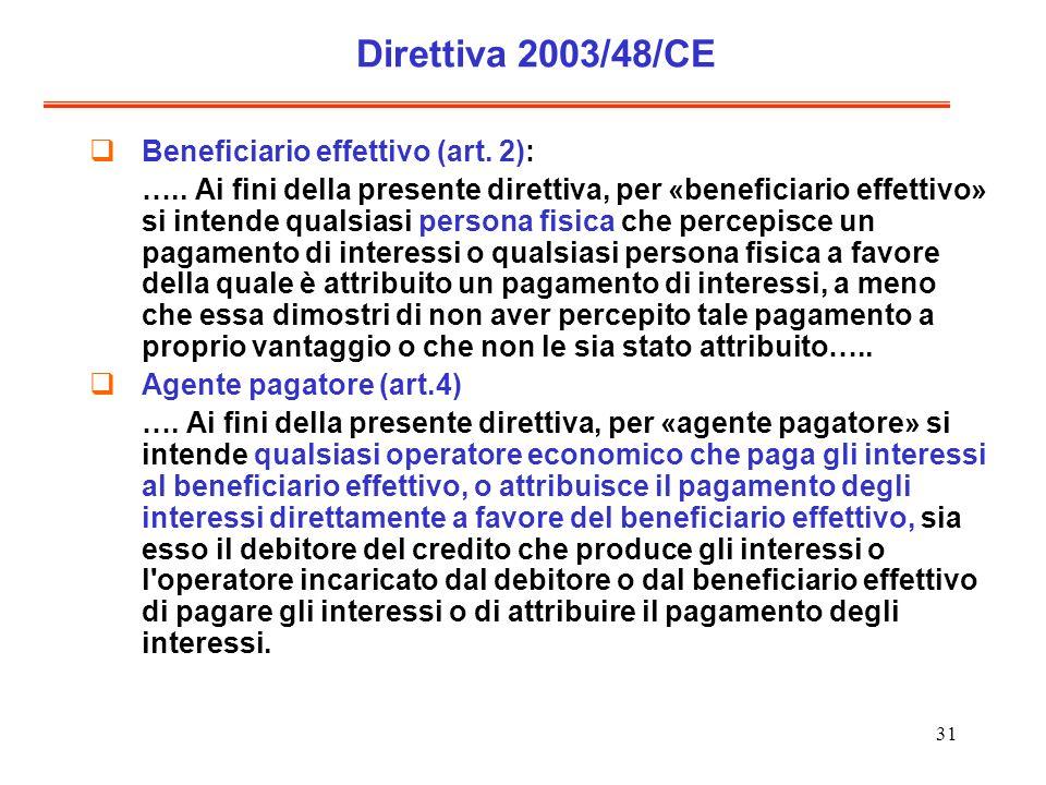 31 Direttiva 2003/48/CE Beneficiario effettivo (art. 2): ….. Ai fini della presente direttiva, per «beneficiario effettivo» si intende qualsiasi perso