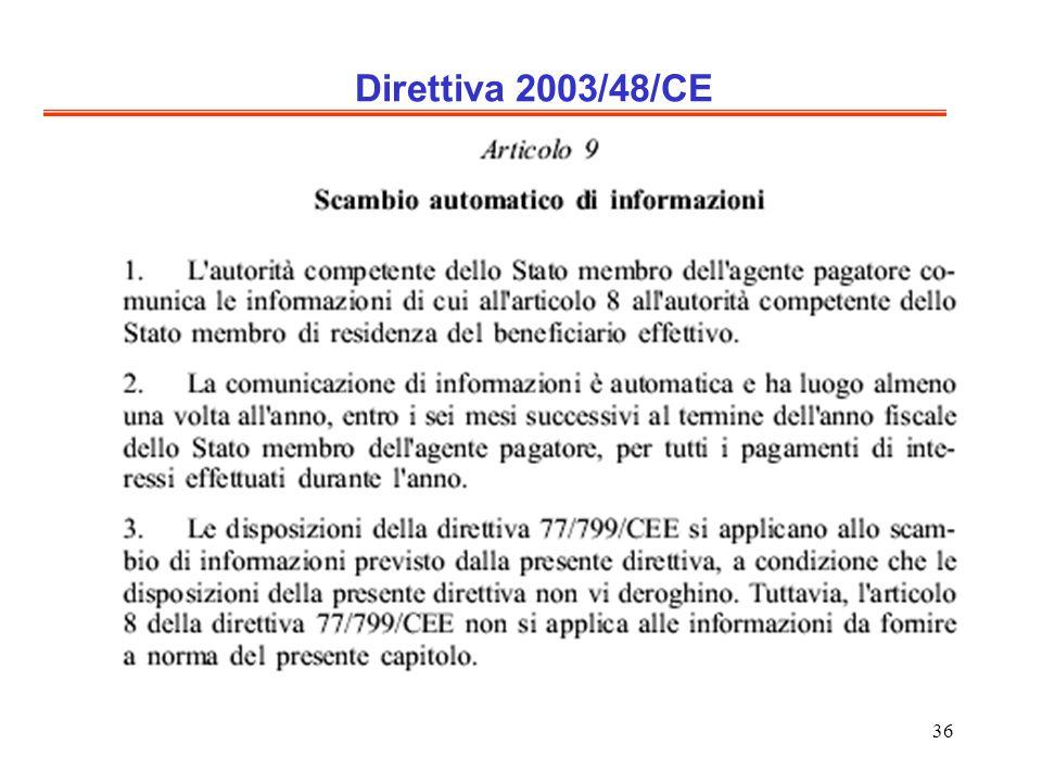 36 Direttiva 2003/48/CE