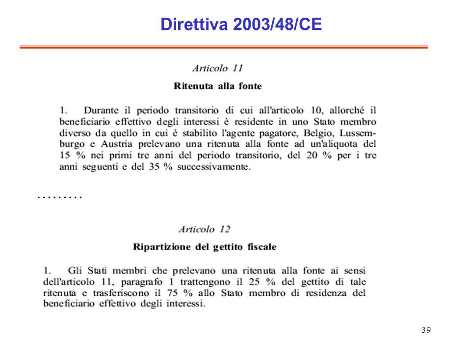 39 Direttiva 2003/48/CE ………