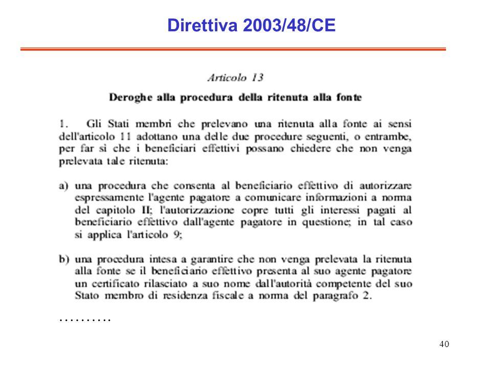 40 Direttiva 2003/48/CE ……….