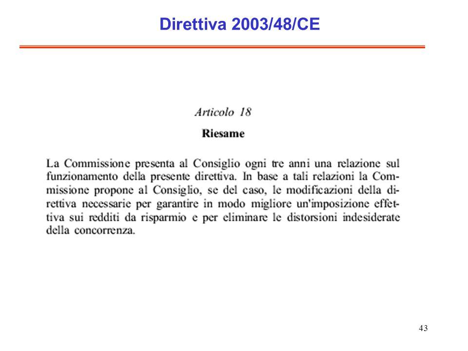 43 Direttiva 2003/48/CE
